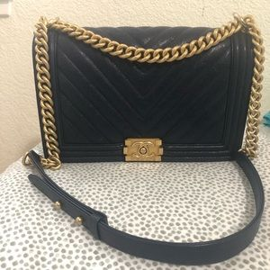 Chanel Leboy Chevron Medium Flap Navy Blue